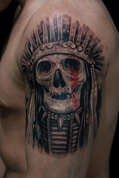 Red Paint Eye Indian Scull tattoo by Mumia Tattoo