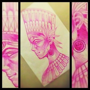 Red Pencil Nifertiti tattoo idea by Chris Veness