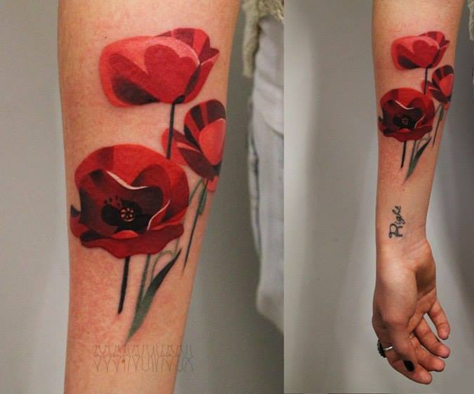 Red Poppies tattoo by Sasha Unisex