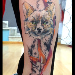 Red Tie Fox tattoo by Live Two