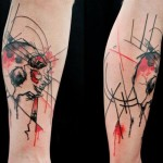 Red and Black Skull Trash Polka tattoo by Skin Deep Art