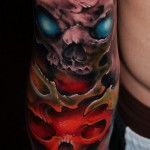 Red and Blue Eyes Skull tattoo by Szilard