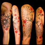 Red and Dotwork Flowers tattoo by Transcend Tattoo