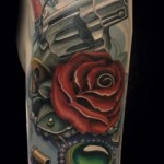 Revolver Rose and Gem tattoo by Mike Woods