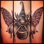 Rhinoceros Beetle Blackwork tattoo by Sarah B Bolen