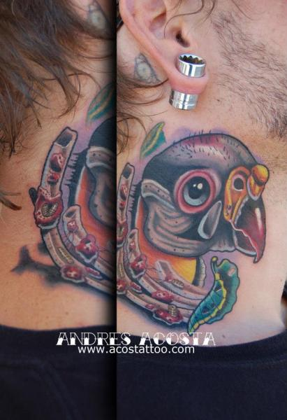 Ribs and Bird tattoo by Andres Acosta on Neck