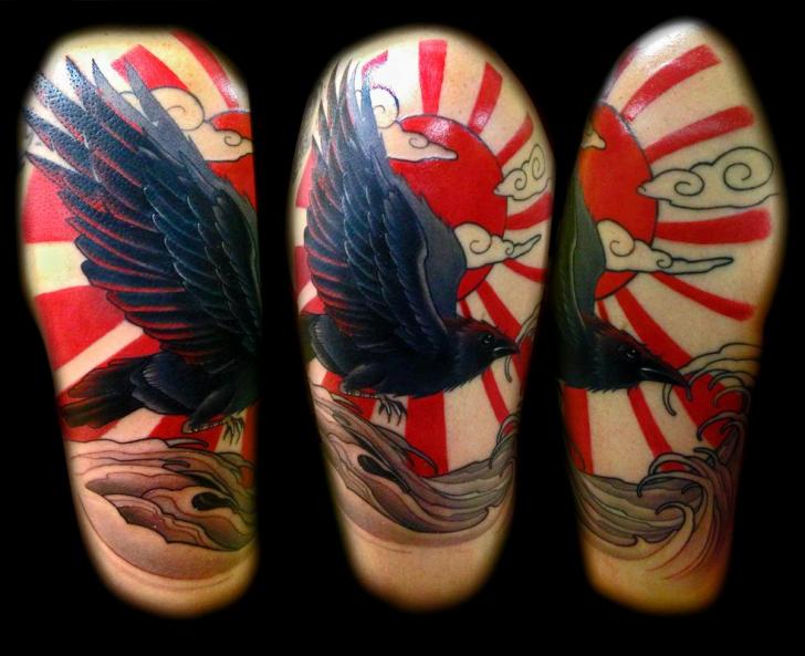 Rising Sun Raven tattoo by Transcend Tattoo on Shoulder
