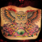 Roman Date Owl Eye of Providence tattoo by Hellyeah Tattoos