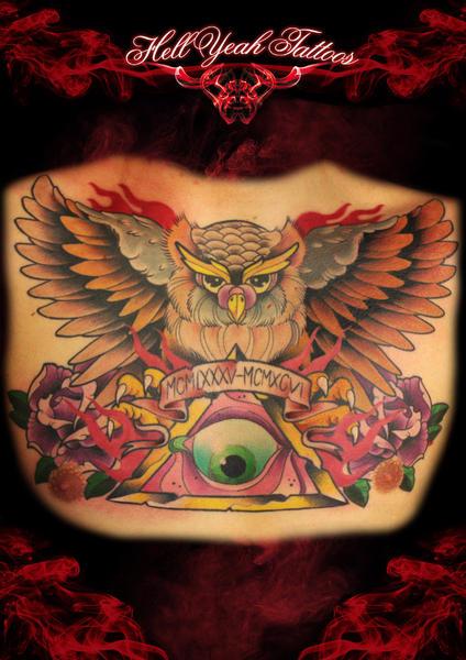 Roman Date Owl Eye of Providence tattoo by Hellyeah Tattoos