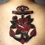 Rose Anchor Nautical tattoo on Back