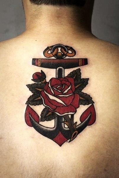 Rose Anchor Nautical tattoo on Back
