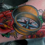 Rose Compas Old School tattoo by Nick Baldwin