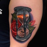 Rose Hourglass Day and Night tattoo by Andres Acosta