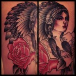 Rose Shoulder Indian Girl tattoo by Sarah B Bolen
