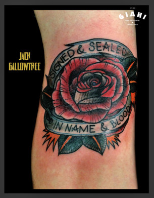 Rose Signed & Sealed in Name & Blood Lettering tattoo by Jack Gallowtree