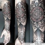 Roses and Circles Dotwork tattoo by MXM