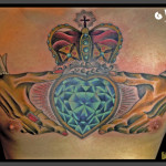 Royal Crown Dimond Heart tattoo by Jack Gallowtree