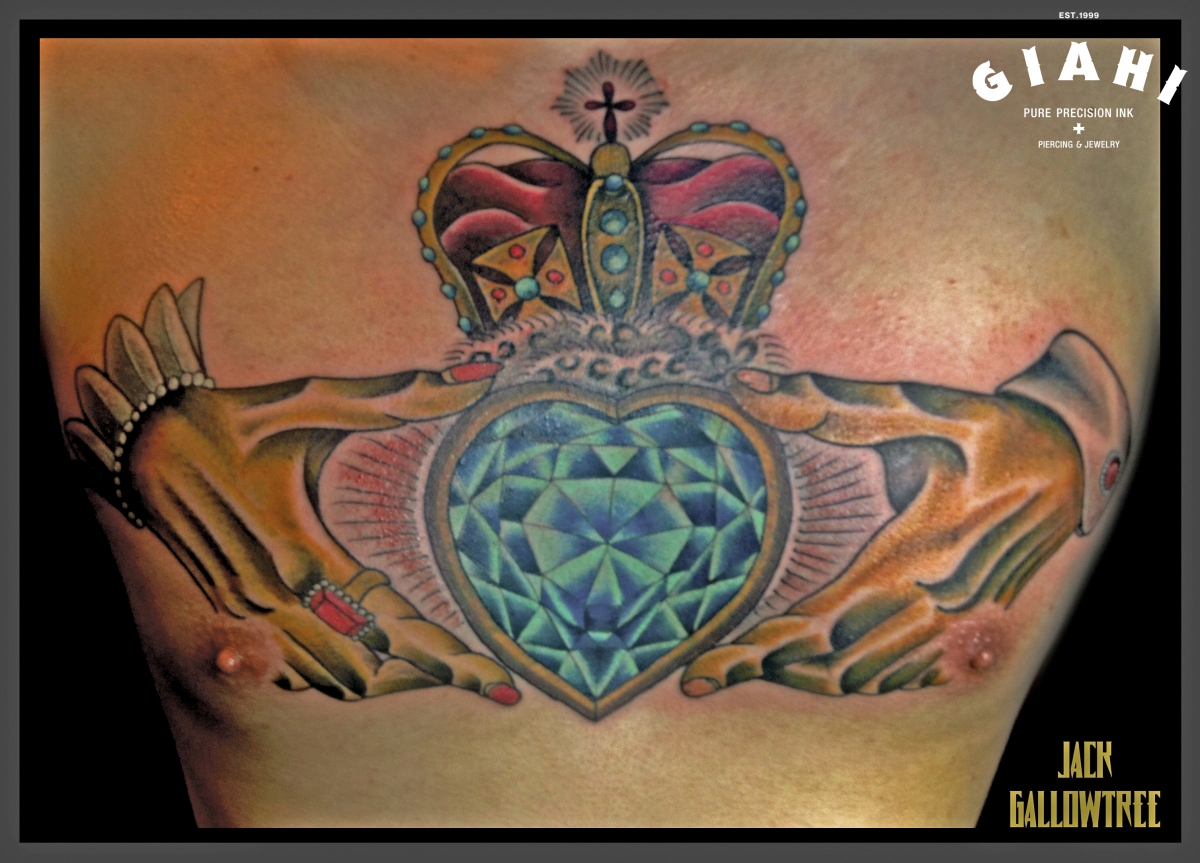 Royal crown dimond heart tattoo by jack gallowtree best for Crown royal tattoo