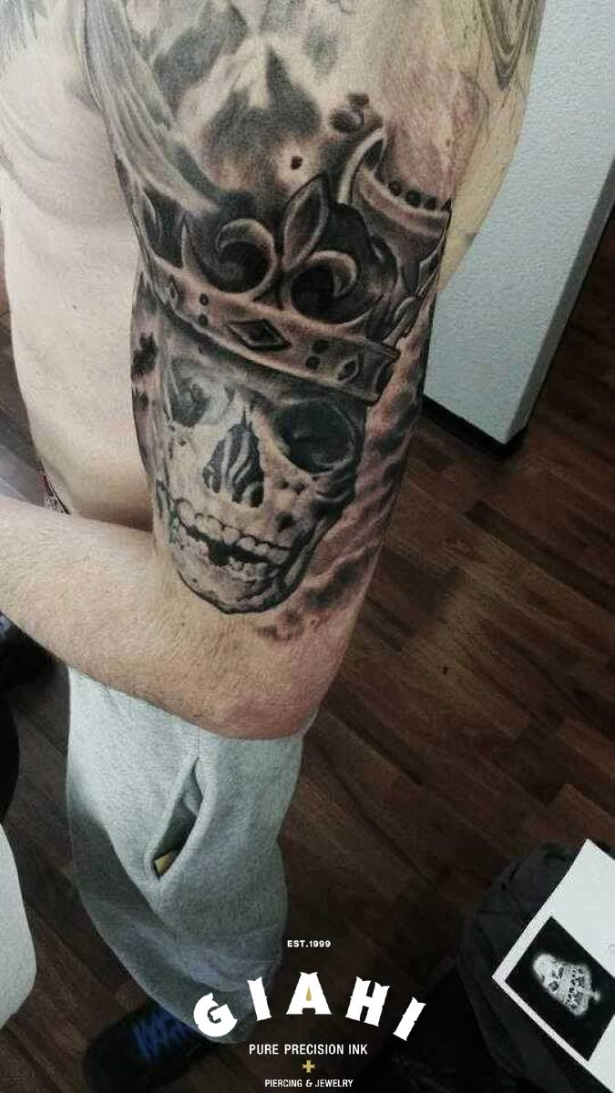 Royal King Skull tattoo by Goran Petrovic