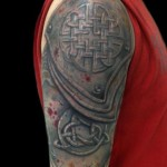 Runic Shoulder Armor 3D tattoo by Andres Acosta