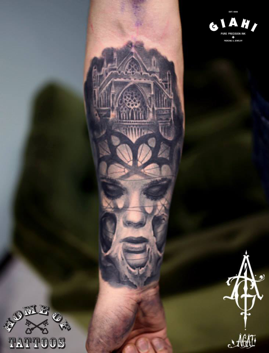 Sad Eyes Church Graphic tattoo by Agat Artemji
