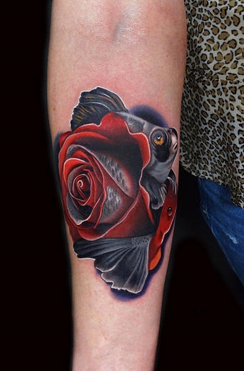 sad fishy rose tattoo by andres acosta best tattoo ideas gallery. Black Bedroom Furniture Sets. Home Design Ideas
