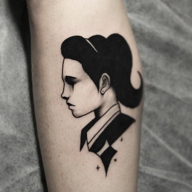 sad girl blackwork tattoo by six one three best tattoo