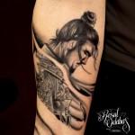 Sad Graphic Samurai tattoo by Resul Odabaş