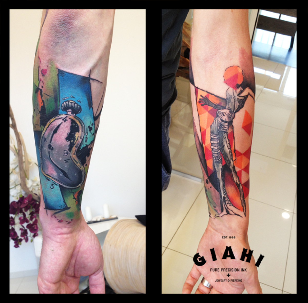 Salvador Dali Girl and Melting Clock tattoo by Live Two