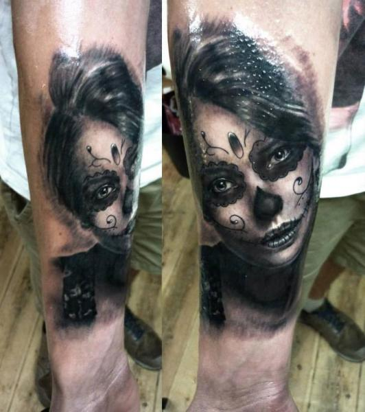 Santa Muerte Girl Realistic tattoo by Georgi Kodzhabashev