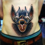 Screamming Bat on Belly New School tattoo by Matt Cooley