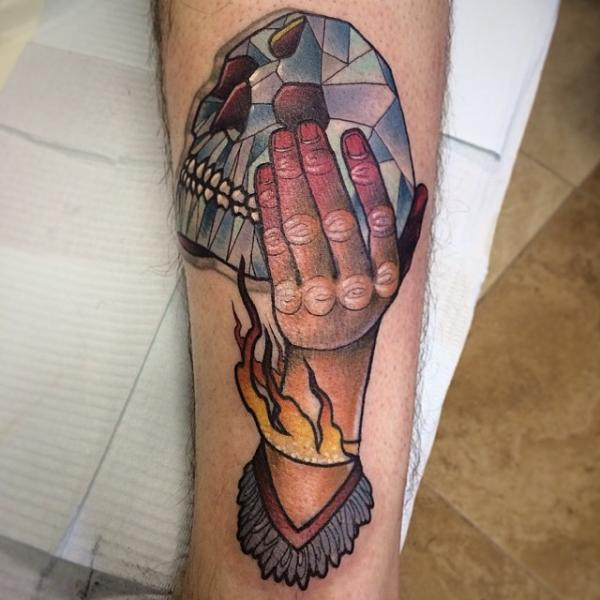 Scull Of Crystal in Hand tattoo by Earth Gasper Tattoo
