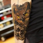 Skull Owl Realistic tattoo by Bloodlines Gallery