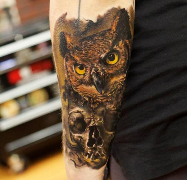 Scull Owl Realistic tattoo by Bloodlines Gallery