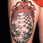 Skull and Octopus Frame Ship Nautical tattoo