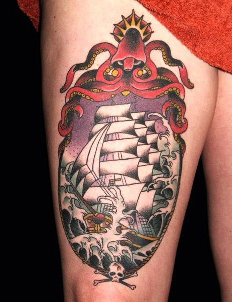 Scull and Octopus Frame Ship Nautical tattoo
