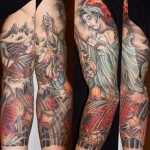 Sea Witch Japanese tattoo sleeve by Three Kings Tattoo