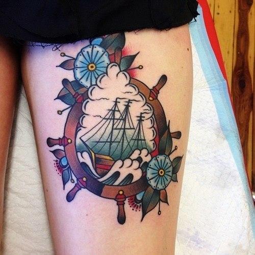 Ship in a Steering Wheel Nautical tattoo