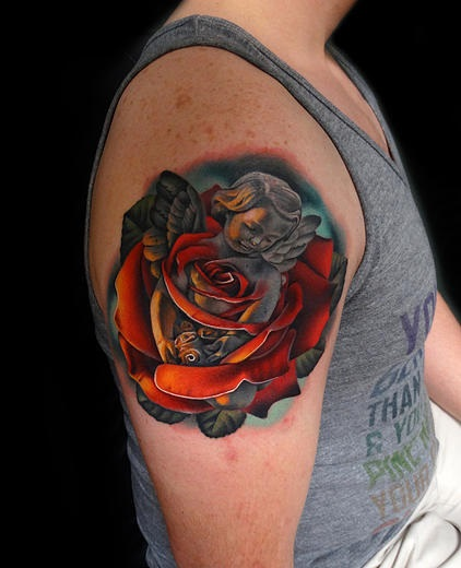Shoulder Angel Rose tattoo by Andres Acosta
