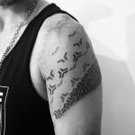 Shoulder Blackwork tattoo in Progress by Corey Divine