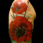 Shoulder Red Poppies tattoo by Transcend Tattoo