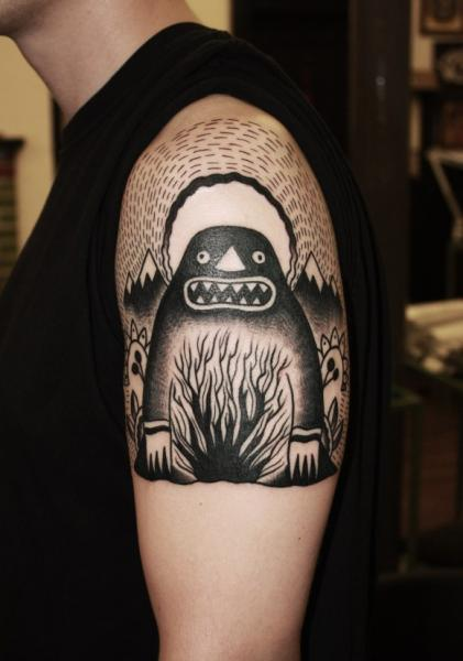 Shoulder Sun Set Monster Blackwork tattoo by Matt Cooley