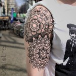 Shoulder and Arm Mandala Dotwork tattoo by Dots To Lines