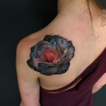 Single Dew Drop Pink Rose tattoo by Andres Acosta