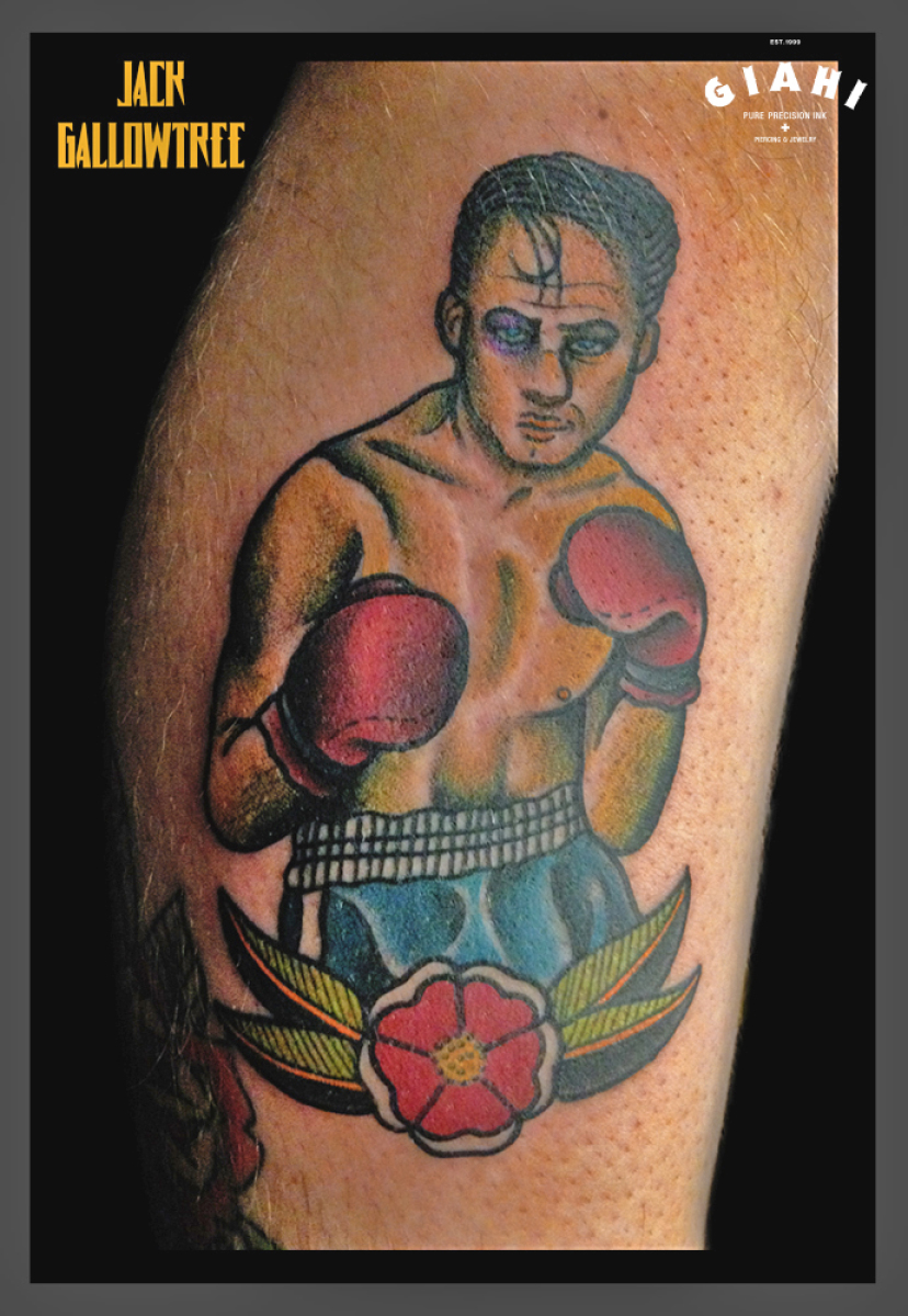 Single Flower Old School Boxer tattoo by Jack Gallowtree