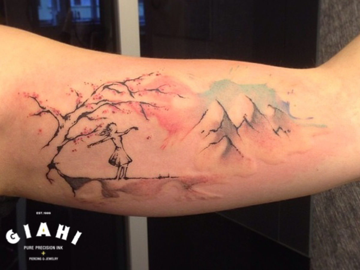 Sketchy Tree and Mountains Aquarelle tattoo by Roony
