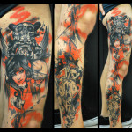 Skull Hare and Girl Tash Polka tattoo by Live Two