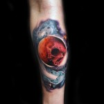 Skull Moon Comet Jaw tattoo by Andres Acosta
