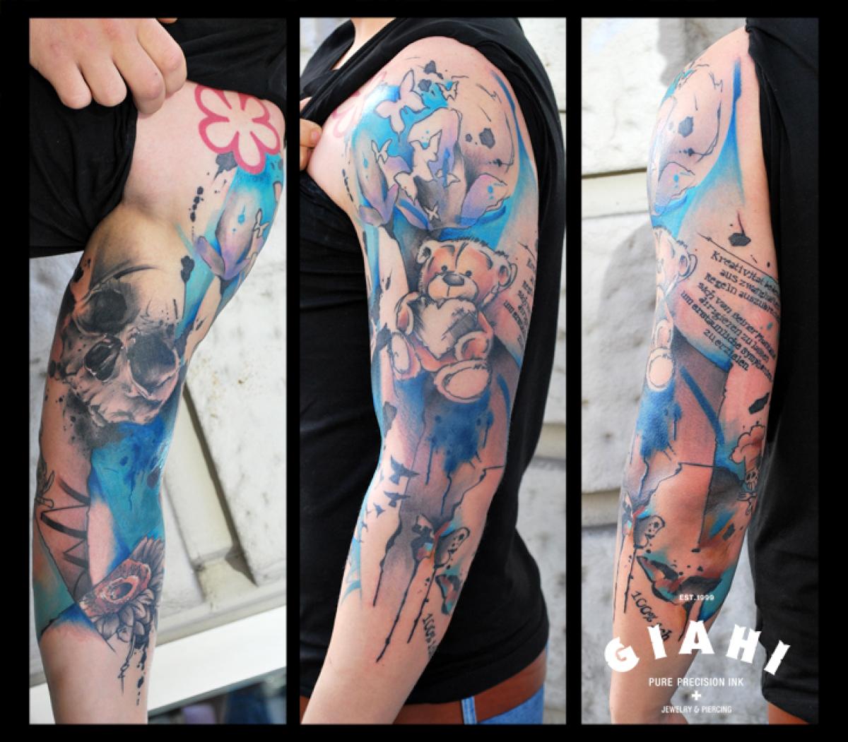 Skull Teddy Bear tattoo by Live Two | Best Tattoo Ideas Gallery