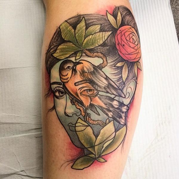 Sky Face Girl Bird tattoo by Earth Gasper Tattoo